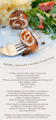 chicken involtini with basil butter Butter, Polish Recipes, Catering, Dishes, Meat, Chicken, Cooking, Tableware, Drinks