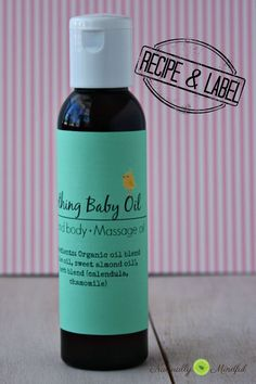 Conventional baby oil can be fatal to children. Instead here is a recipe for a homemade and all natural baby oil. Plus downloadable cute label!