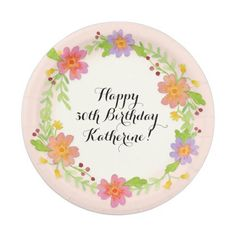 30th Birthday Party Watercolor Modern Floral Paper Plate