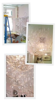 Bubble Chandelier (DIY)  Instead of using clear ornaments you can use shades of a specific color of ornaments for a wonderful display!