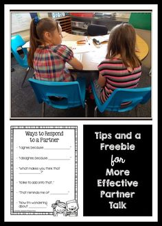 "Partner Reading Ideas and a sentence starter freebie to help make ""turn and talks"" or ""Think Pair Shares"" more productive! Classroom Behavior, School Classroom, Classroom Management, Classroom Ideas, Classroom Inspiration, Teacher Tools, Teacher Hacks, Teacher Stuff, Teaching Strategies"