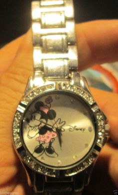 Gorgeous Disney Minnie Mouse Stainless Steel & Rhinestone Accutime Watch