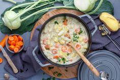 Kohlrabigemüse mit Kartoffeln und Möhren-1 Cheeseburger Chowder, Feel Good, Side Dishes, Low Carb, Soup, Eat, Blog, Hamburger Patties, Cooking Recipes
