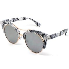 ELOQUII Marbled Brow Retro Frame Sunglasses ( 20) ❤ liked on Polyvore  featuring accessories, ad647711a0ab