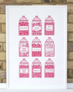 Old fashioned candy jars screen print in pink limited by print121, £30.00