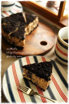 * nico@cafe おやつ * クッキークリームチーズケーキ  冷蔵庫に、封を切ってあるでっかいブロックで買ったkiriのクリームチーズが限...