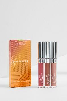 Sun Seeker lip bundle includes Cabana Boy metallic rose gold Ultra Glossy Lip,  Sizzle warm berry Ultra Matte Lip, and Tidal warm brown Ultra Satin Lip