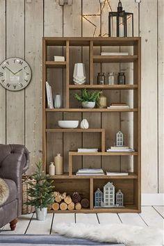 Buy Bronx Tall Shelving Unit from the Next UK online shop Niche Living, Home Living Room, Living Room Decor, Wall Shelving Units, Bookcase Shelves, Tall Shelves, Rustic Wall Shelves, Corner Shelves, Floating Shelves