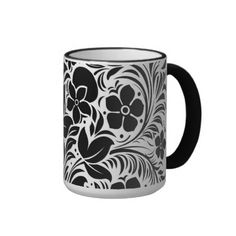 Black  White Stylized Floral Pattern Mug