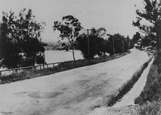 View of Coronation Drive, Toowong, Brisbane, 1941 - Scene along Coronation Drive, Toowong, to the Regatta Hotel in 1941. Wooden electricity poles line the edge of the road with a view of the suburb of St Lucia over the Brisbane River.