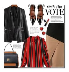 """""""Rock the Vote in Style"""" by beebeely-look ❤ liked on Polyvore featuring Andrea Marques, RED Valentino, Chanel, WorkWear, leatherjacket, rockthevote and twinkledeals"""