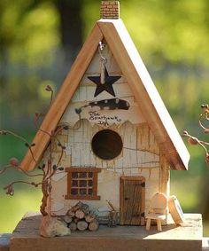 Rustic and cute Birdhouse! [I will use this as a fairy house ] Bird House Feeder, Bird Feeders, Decorative Bird Houses, Bird Boxes, Fairy Houses, Little Houses, Yard Art, Birds, Decoration