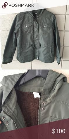 J. Crew Lined Parka Military inspired parka jacket from J. Crew. Cozily lined for extra warmth! Pocket detailing, hooded, and army green color- in great condition! Runs a little small, better with room for a sweater under! J. Crew Jackets & Coats Utility Jackets