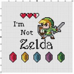 I'm not Zelda, Link Legend of Zelda - Cross Stitch Pattern - Instant Download