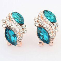 Pair of Alloy Rhinestone Oval Earrings 2.38 USD