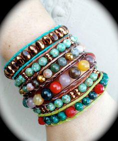 Leather wrap bracelets, made by Dizzy Bees, found on facebook!