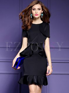 Shop for high quality Brief Falbala Short Sleeve Slim Fishtail Bodycon Dress online at cheap prices and discover fashion at Ezpopsy.com