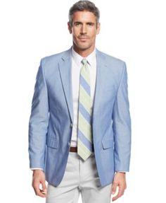 68b52f42e579 Lauren Ralph Lauren Blue Chambray Sport Coat Men - Blazers   Sport Coats -  Macy s