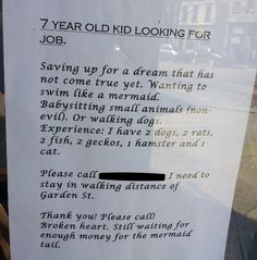 7-Year-Old Posts Most Adorable Job AdEver @Sarah G I actually think this is you...