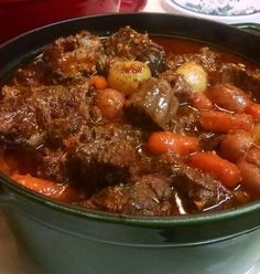 Ingredients: 2 tbsps of olive oil. 2 pounds of cubed beef stew meat. 2 tbsps of all purpose flour. 4 cups of water. 2 cups of beef broth. ½ tsp of salt. ½ tsp of ground black pepper. 4 cups of cubed potatoes. Slow Cooker Recipes, Crockpot Recipes, Cooking Recipes, Easy Recipes, Delicious Recipes, Casserole Recipes, Soup Recipes, Burrito Casserole, Oxtail Recipes