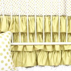 Gold and White Ruffle Baby Bedding | Metallic Gold Dots Curtains