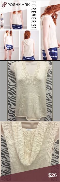 """F21 Sweater GREAT piece for Transcending the Seasons‼️ Go from Sun Bathing to Bonfires this Sweater does it ALL‼️ Rich purl Knit with Contrasting Knit Trim Generous Hoodie and """"Kangaroo"""" Pocket will surely keep those Evening Breezes at bay‼️ Sleeveless design will keep it Light and PERFECT for those Balmier Nights‼️ A 'MUST PACK' item for your Tropical Holiday Getaway‼️ BUST 34.5"""" Waist 34.5"""" Length 21.75"""" 💯 % Acrylic‼️ Price is FIRM unless BUNDLED‼️ Forever 21 Sweaters V-Necks"""