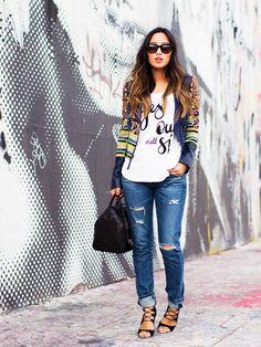 statement shirt jeans and blazer