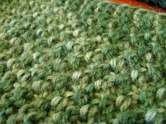 Moss knit scarf on a loom (knit as a flat panel)