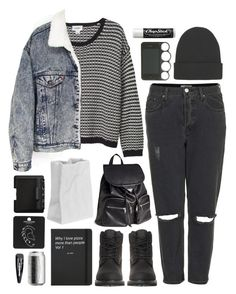 """Dark times"" by brigitta-bodoki ❤ liked on Polyvore featuring Topshop, Monki, Timberland, H&M, Levi's, Rosenthal, Chapstick, Forever 21, NLY Accessories and NARS Cosmetics"