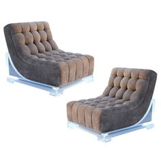 1stdibs - Pair of 1970's Custom Suede and Lucite Slipper Chairs explore items from 1,700  global dealers at 1stdibs.com