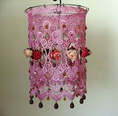 Roses, vintage look, hanging out from  pink lace with Czech glass teardrops  and  lots of beauty  in a unique  ceiling  lamp shade.