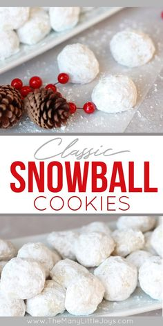 Call them whatever you like--wedding cookies, Russian tea cakes, snowball cookies--these bite-sized cookies are the perfect addition to a holiday dessert plate, cookie exchange, or for enjoying yourself by the Christmas tree. Snowball Cookies, Crinkle Cookies, Holiday Cookies, Holiday Treats, Holiday Recipes, Christmas Baking Ideas Cookies, Fun Holiday Desserts, Classic Christmas Cookie Recipe, Traditional Christmas Cookies