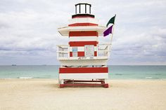 Photographer Léo Caillard shot the series 'Miami Houses'. It is showing different lifeguard houses on Miami´s beaches, which are all very different in form and. South Beach Miami, Miami Beach House, Miami Florida, Florida Travel, Beautiful Beach Houses, Beautiful Beaches, Beach Lifeguard, Station Balnéaire, Pretty Beach