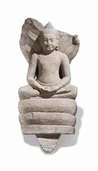 A SANDSTONE FIGURE OF BUDDHAMUCHALINDA THAILAND, LOPBURI PERIOD, 13TH CENTURY Seated in vajrasana on the coils of a snake with his heads serving as canopy, both hands in dhyanamudra, wearing samghati, his face with serene expression, the earlobes with pendulous earrings, the curled hair rising into the ushnisha, on wood stand 25 ¼ in. (64 cm.) high