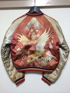 "ridiculously cool vintage 50s ""skajan"" japanese satin embroidered souvenir jacket"