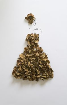 Artist Interview with Tang Chiew Ling. Fashion in Leaves, is a personal project by artist and illustrator Tang Chiew Ling from Malaysia. Arte Fashion, 3d Fashion, Flower Fashion, Paper Fashion, London Fashion, Dress Fashion, Fashion Design, Fashion Clothes, Fashion Ideas
