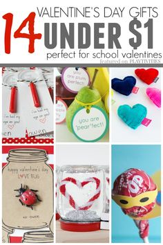 14 super cute and original ideas for homemade valentine gifts kids can give to their friends and classmates. They are all under $1 or free.