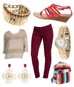 6pm || Back to School Chic || #adrianogoldschmied #maroon #coloreddenim