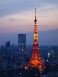 (Tokyo, Japan) - Did you know that the Tokyo Tower is thirteen meters taller than the Eiffel Tower? Tokyo Tower, Oh The Places You'll Go, Places To Travel, Places To Visit, Asia Travel, Japan Travel, Tokyo Skytree, Tokyo Night, Go To Japan