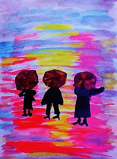 Kids wih umbrellas in the rain, watercolor