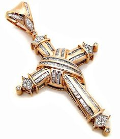 Men's 2.50ct Baguette Diamond Cross Pendant in 10k Rose Gold