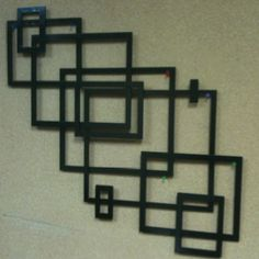 Contemporary wall art cut using a burntables.com Cnc plasma cutter out of a single 12x12 piece of metal then welded together.