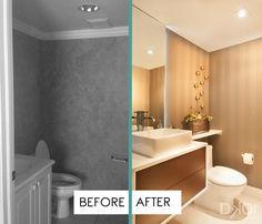 A Contemporary Moody Home - Residential Interior Design Project in Aventura, Florida - #InteriorDesign #InteriorDesigners #Interiors #Decoration #Remodel #PowderRoom