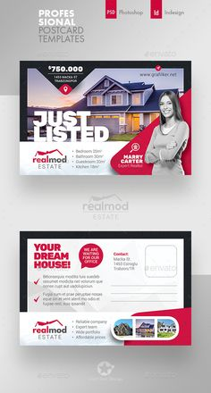 Real Estate Postcard Template PSD, InDesign INDD visit You are in the right place about real estate Real Estate Advertising, Real Estate Ads, Real Estate Branding, Real Estate Flyers, Postcard Template, Postcard Design, Web Design, Flyer Design, Real Estate Banner