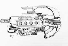 Spaceship #24 - May 24 2016 - ink on paper by Steven H MacDowall 7 inches = 17.78cm X 5 inches = 12.7cm (width x height).