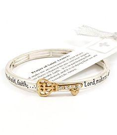 Accessory Accomplice Goldtone Crystal Studded Key Charm Engraved Prayer of St. Francis Silvertone Stretch Bracelet Accessory Accomplice http://www.amazon.com/dp/B00EO5UXPE/ref=cm_sw_r_pi_dp_GR79tb0CBWHPF