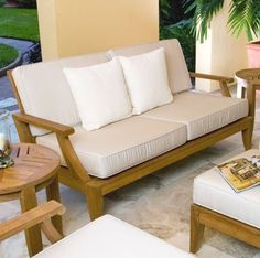 Part of the Laguna Collection, uniting classic style with clean architectural lines, this solid teak Laguna Loveseat Sofa has an inside seat length of 60 in. Generously proportioned to offer extra room for lounging, this loveseat will be at home indoors, on the veranda, or the garden.
