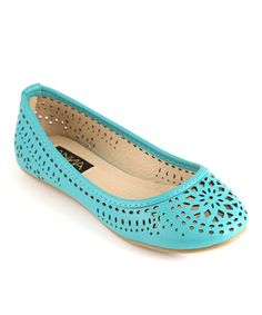Loving this Teal Vera Cutout Flat on #zulily! #zulilyfinds