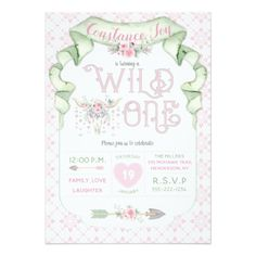 #Wild One Birthday Pink Green Tribal Card - #birthday #gifts #giftideas #present #party