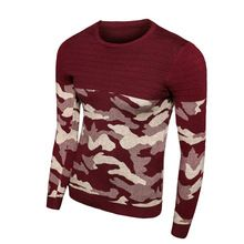 2016 New Men Winter Autumn Casual O-neck Camo Pullover Christmas Sweater Men Patchwork Knitted Sweaters Vintage Clothing 13M0519(China (Mainland))